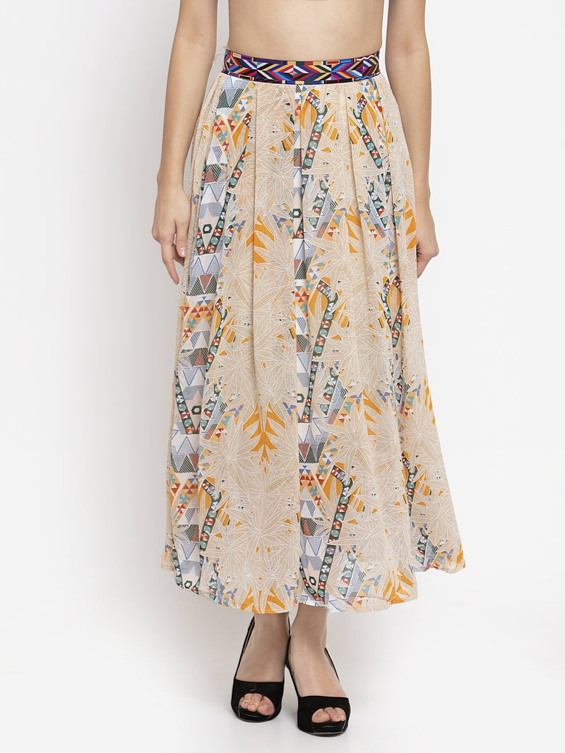 Women Mustard Printed Chiffon Skirt