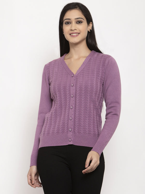 Women Purple V-Neck Solid Cardigan