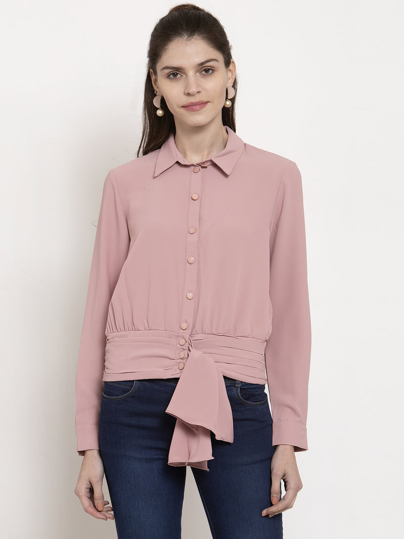 Ladies Pink Solid Collared Top