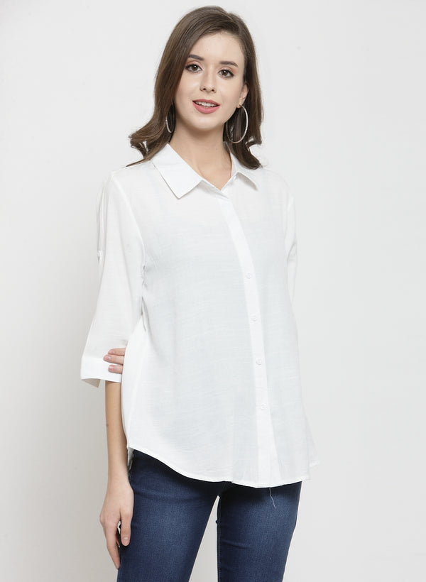 Women Plain Olive And White Combo Of 2 Collar Shirt