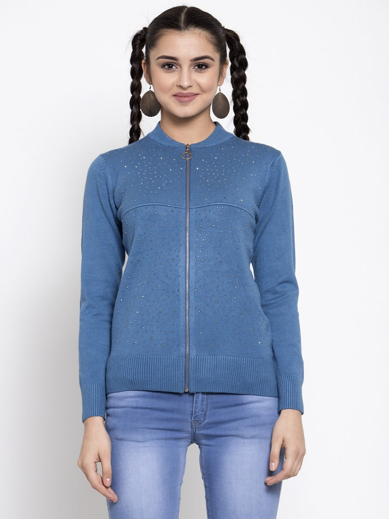 Women Solid Denim Round Neck Pullover