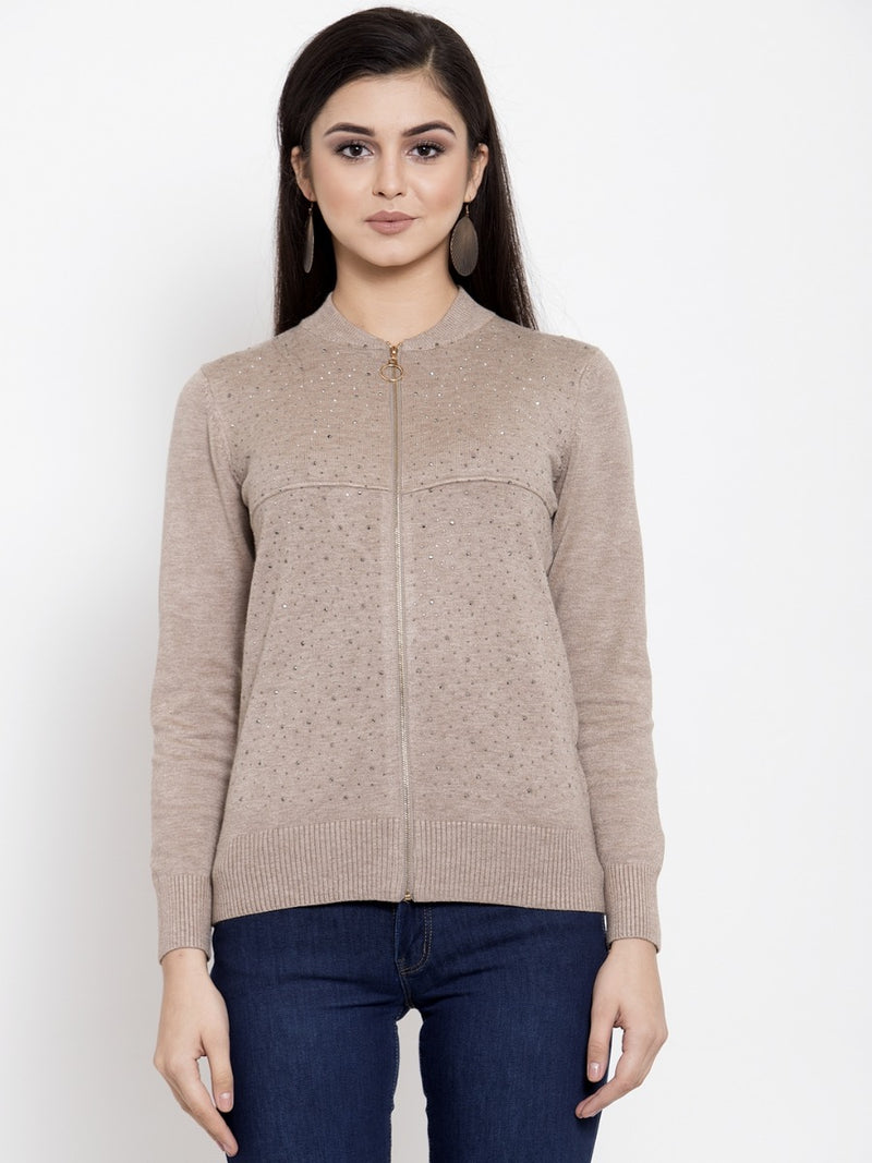 Women Mauve Solid Pullover Sweater