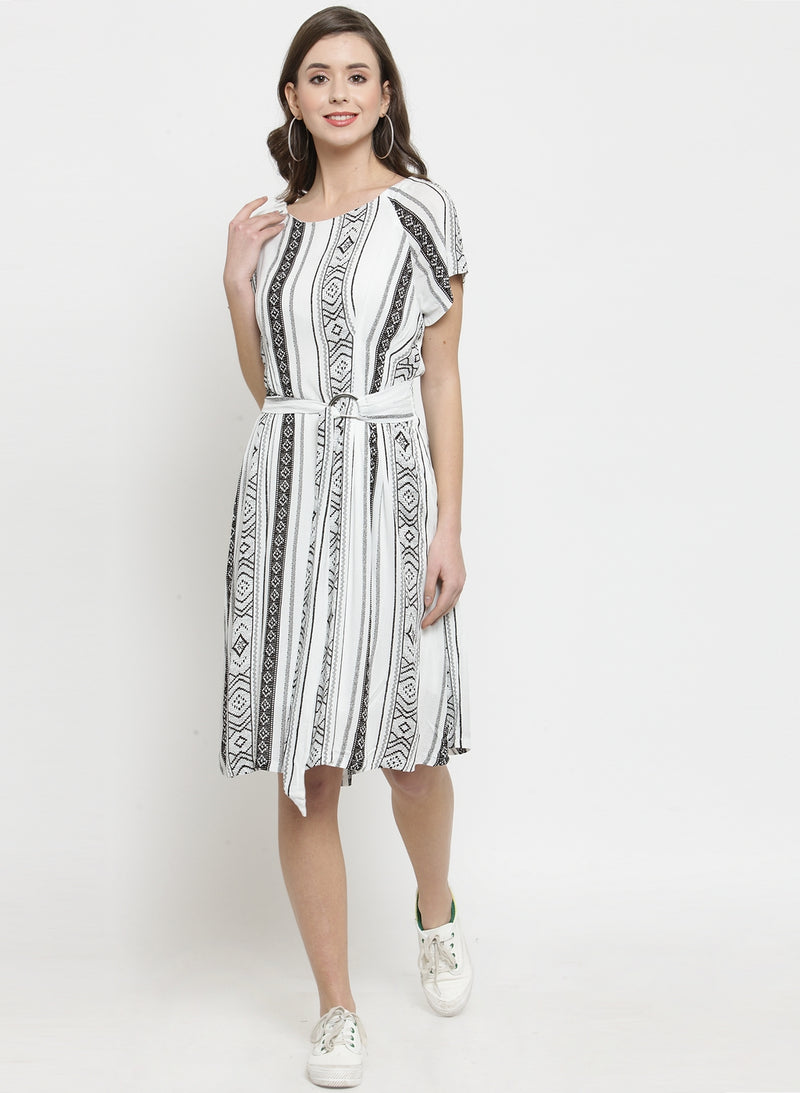 Women White Printed Sheath Dress