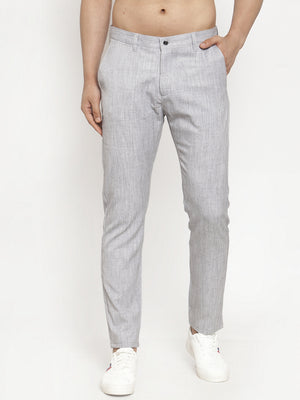 Mens Solid Grey Polyester Trouser