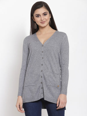 Women Solid Grey V-Neck Coat