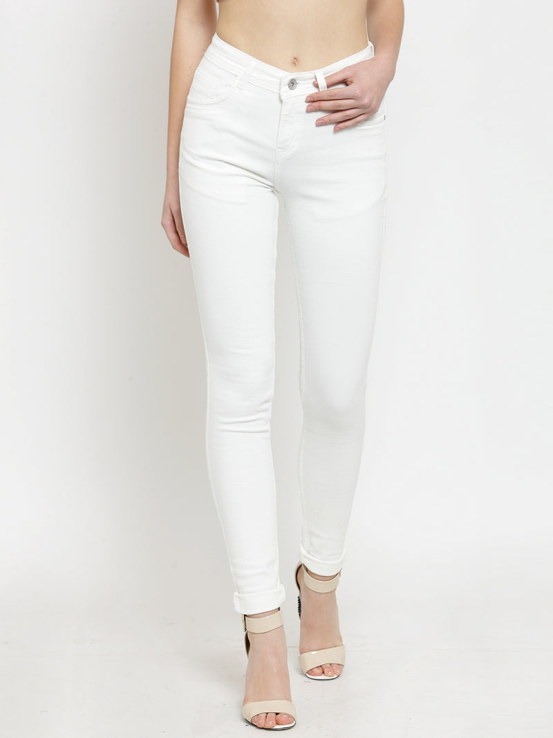 Women White  Solid Jeans