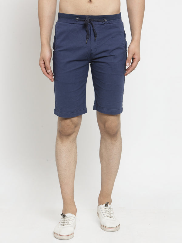 Mens Navy Blue Solid Regular Fit Shorts