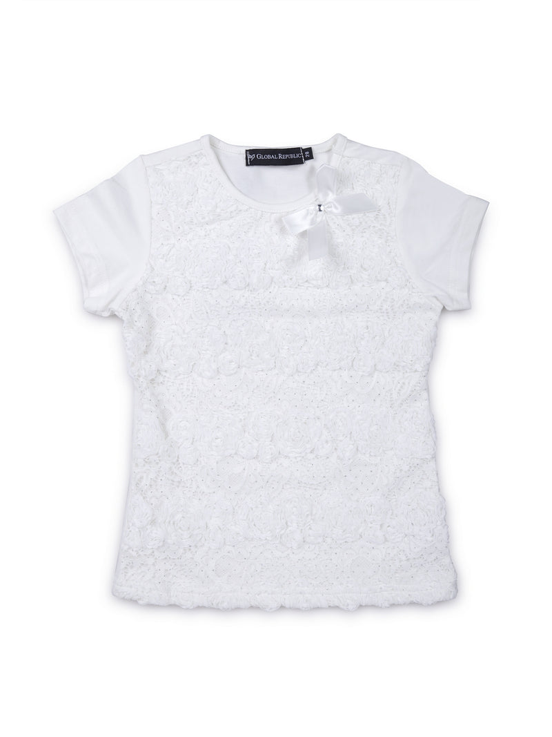 Kids Solid White Round Neck Top