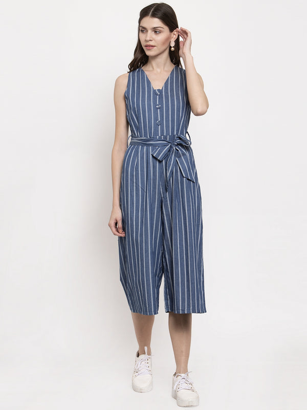 Ladies Denim Striped V-Neck Jump Suit