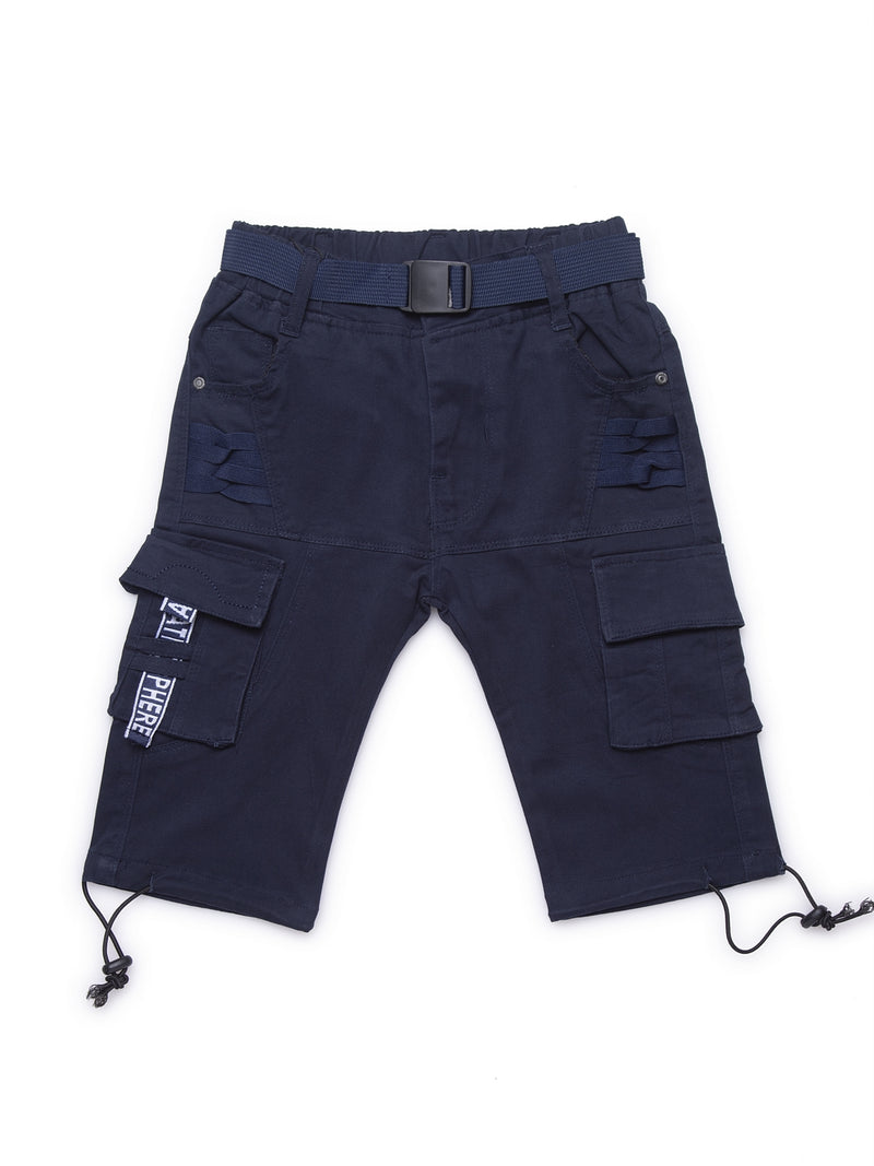 Kids Navy Blue Relaxed Fit Cargo Capri