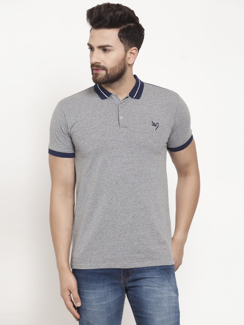 Mens Grey Collar Regular Fit Polo T-Shirt