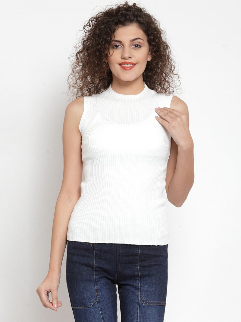 Women Solid White Colored Knitted Sleeveless Top