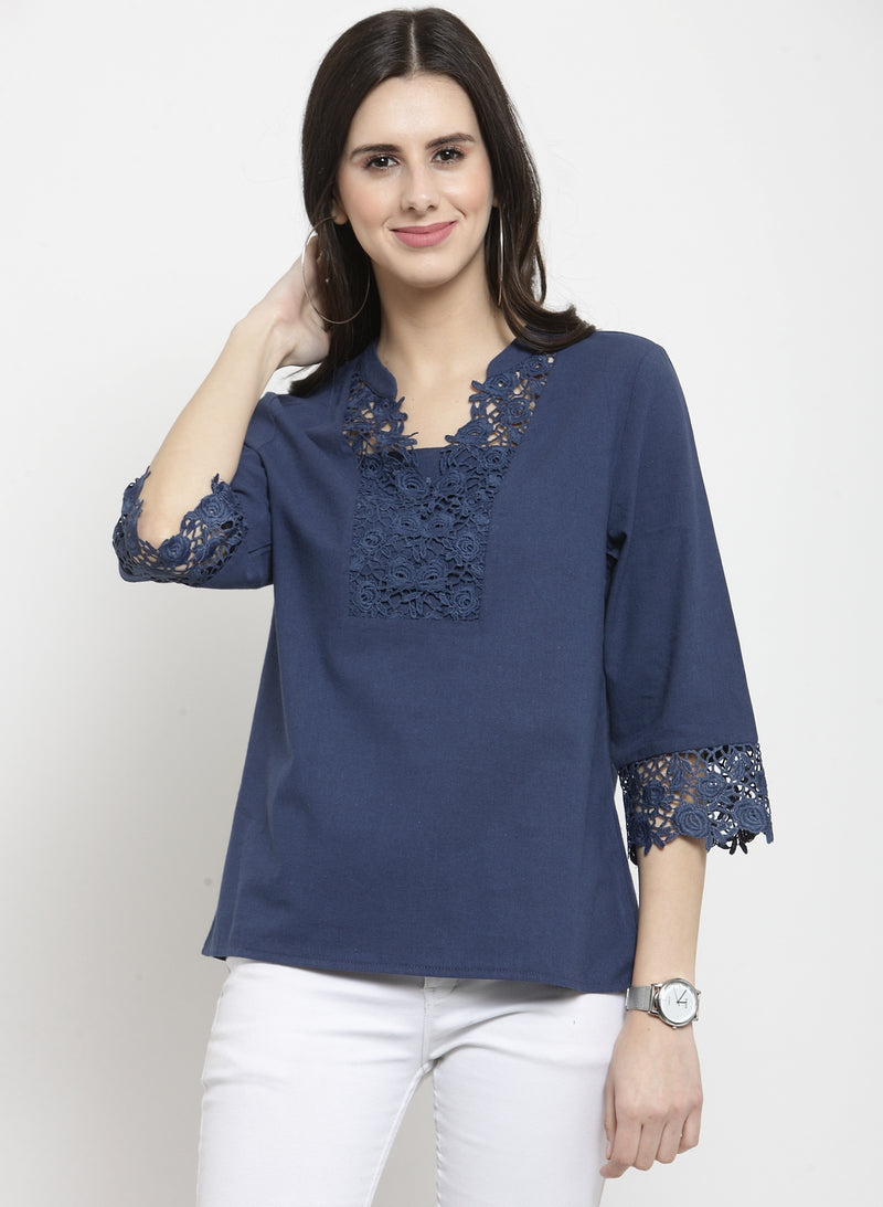 Women Solid Navy Blue Lace Neck Top