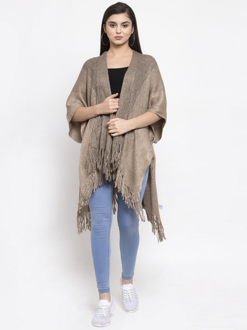Women Solid Khaki Shrug