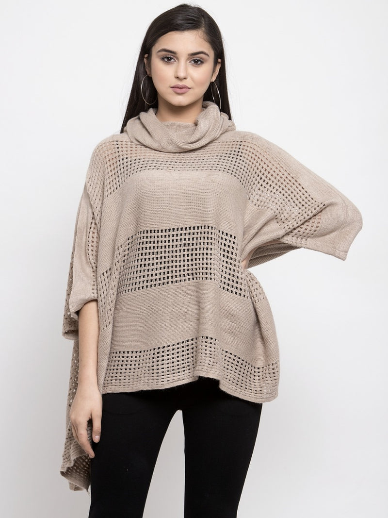 Women Solid Khaki Round Neck Ponchu
