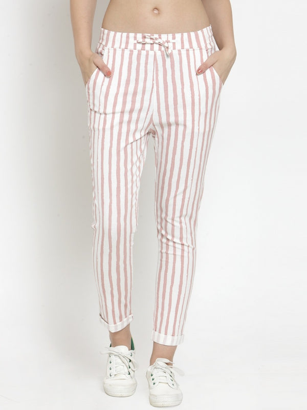 Women Striped Pink Cotton Lower
