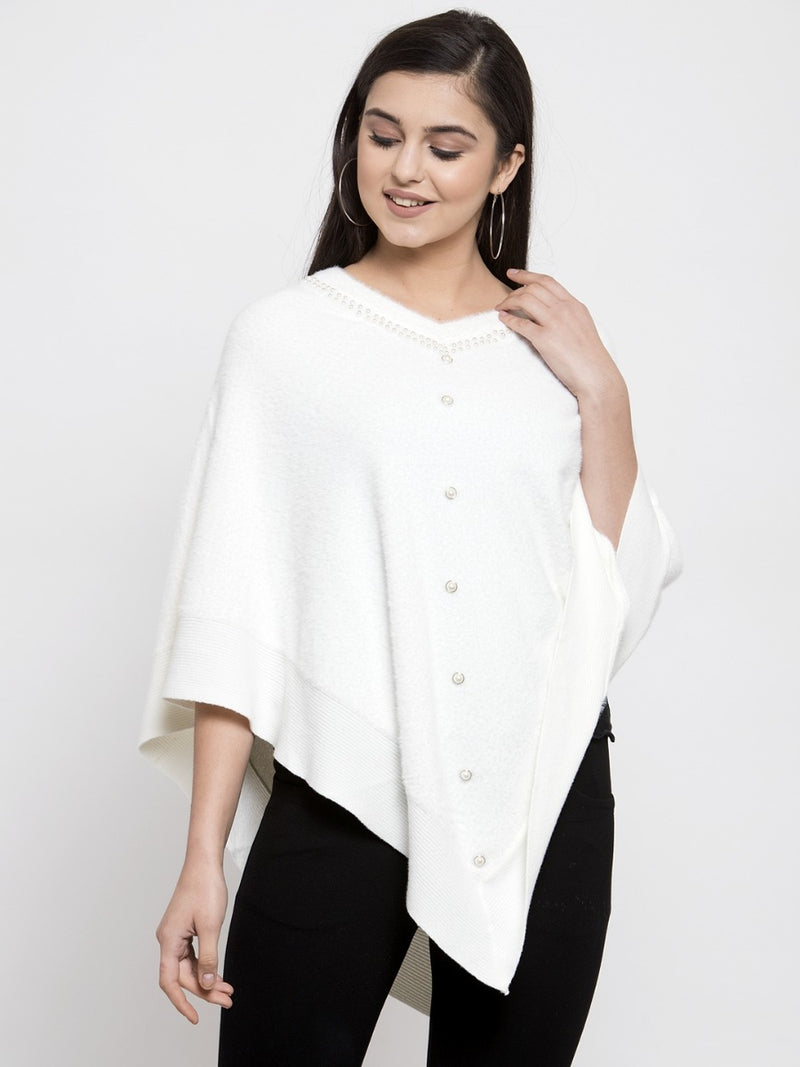 Women White Solid Poncho Sweater