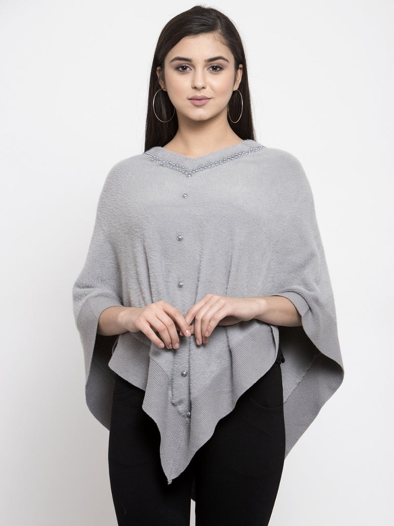 Women Grey Solid Poncho Sweater