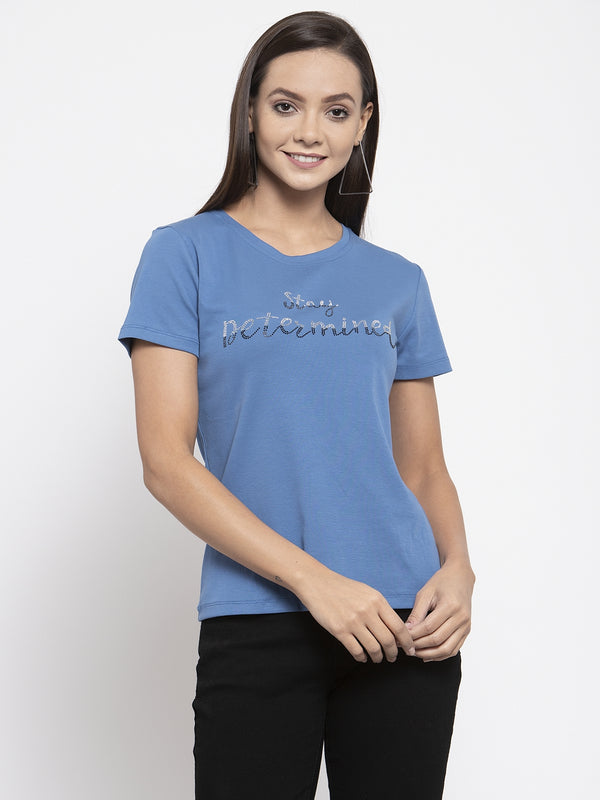 Women Blue Printed T-Shirt