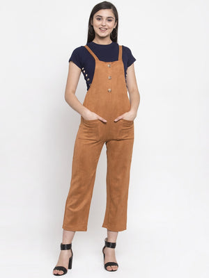 Women Solid Rust Shoulder Straps Dungaree