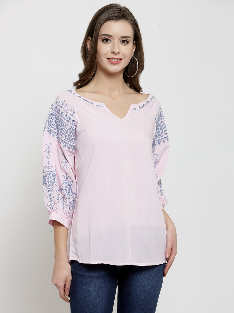 Women Pink Cotton Top With Printed Sleeve
