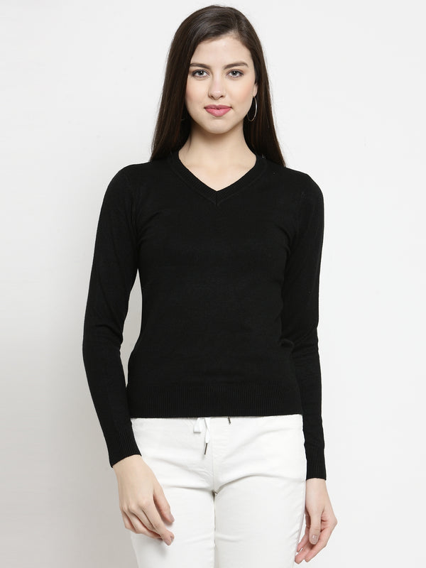 Women Black V-Neck Full Sleeve Skeevi Pullover