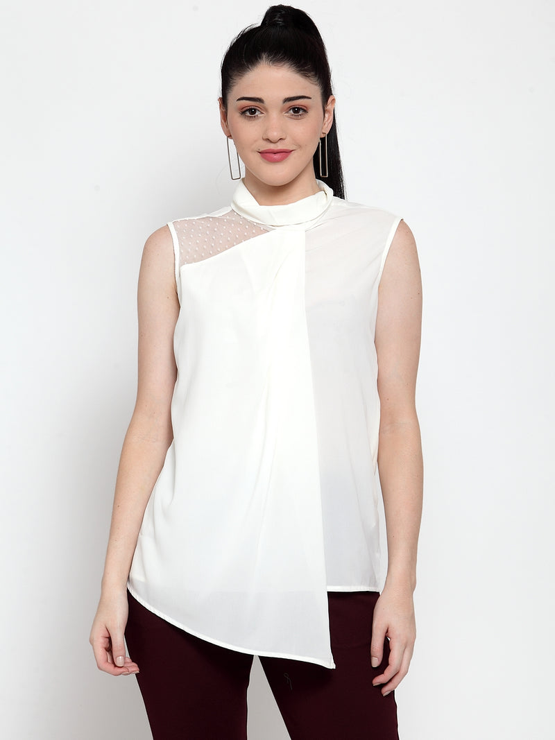 Women Solid White Turtle Neck Top