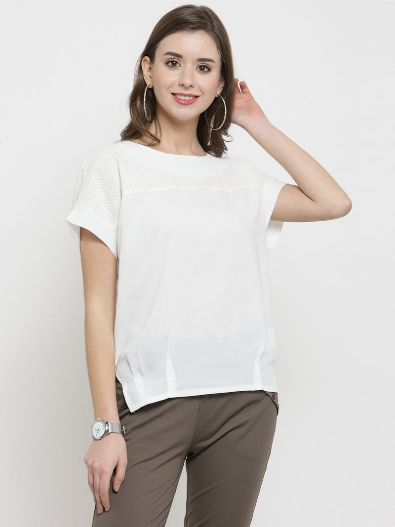 Women White Comfort Fitted Polyester Top