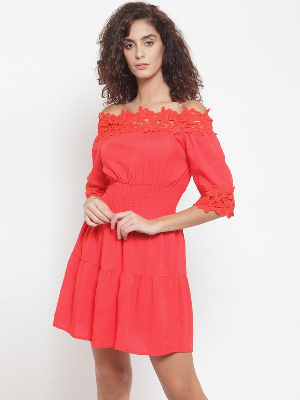 Women Red Off-Shoulder Dress With Lace Detail