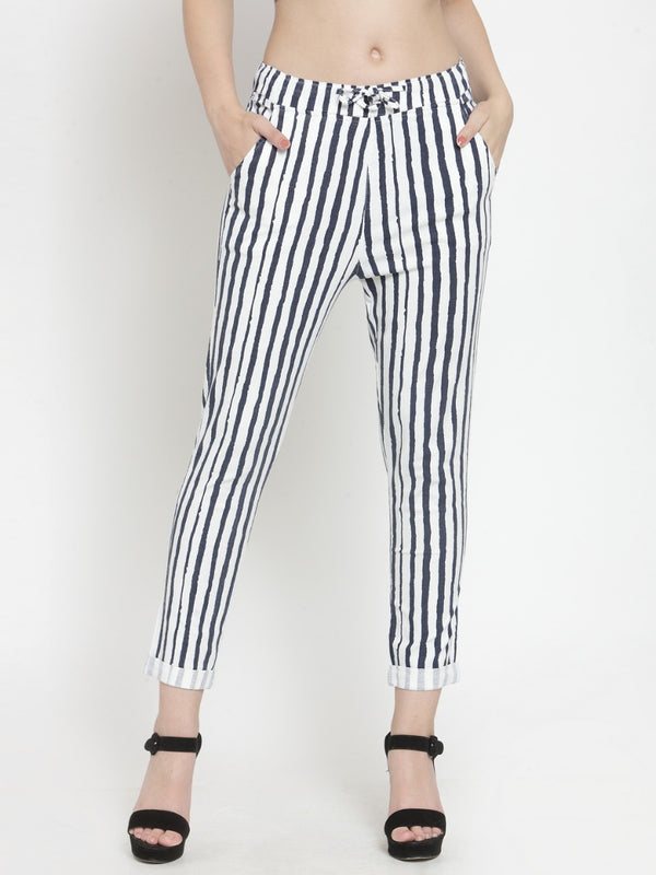 Women Striped Navy Blue Cotton Lower