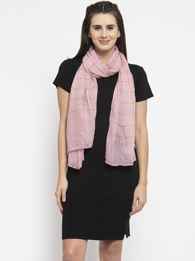 Women Pink Cotton Stole With Checked Beads