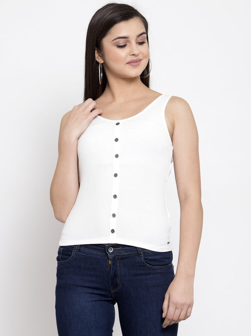 Women Solid White Scoop Neck Top With Placket