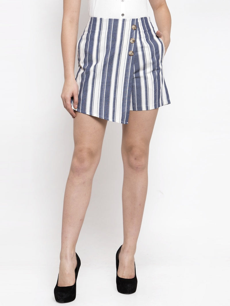 Women Striped Blue Skirt Like Shorts