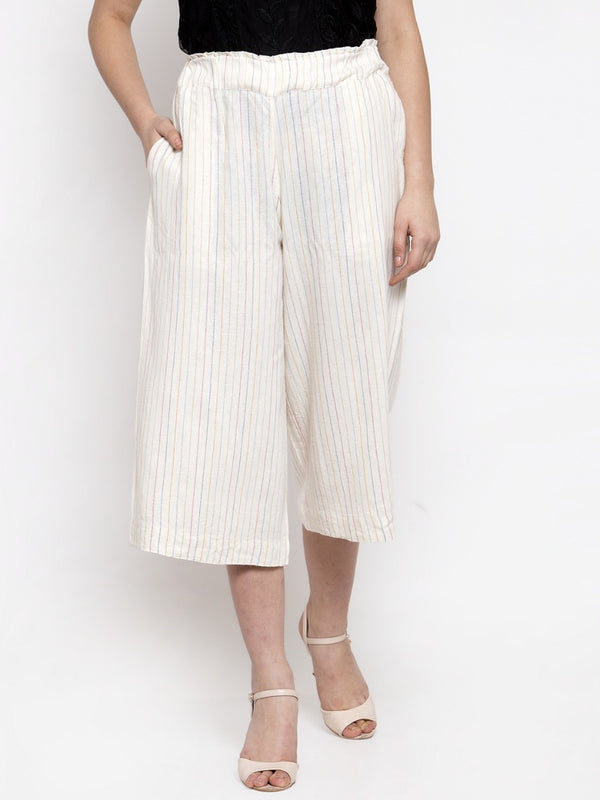 Women White Striped Plazo