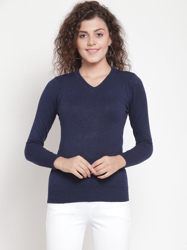 Women Navy Blue V-Neck Full Sleeve Skeevi Pullover