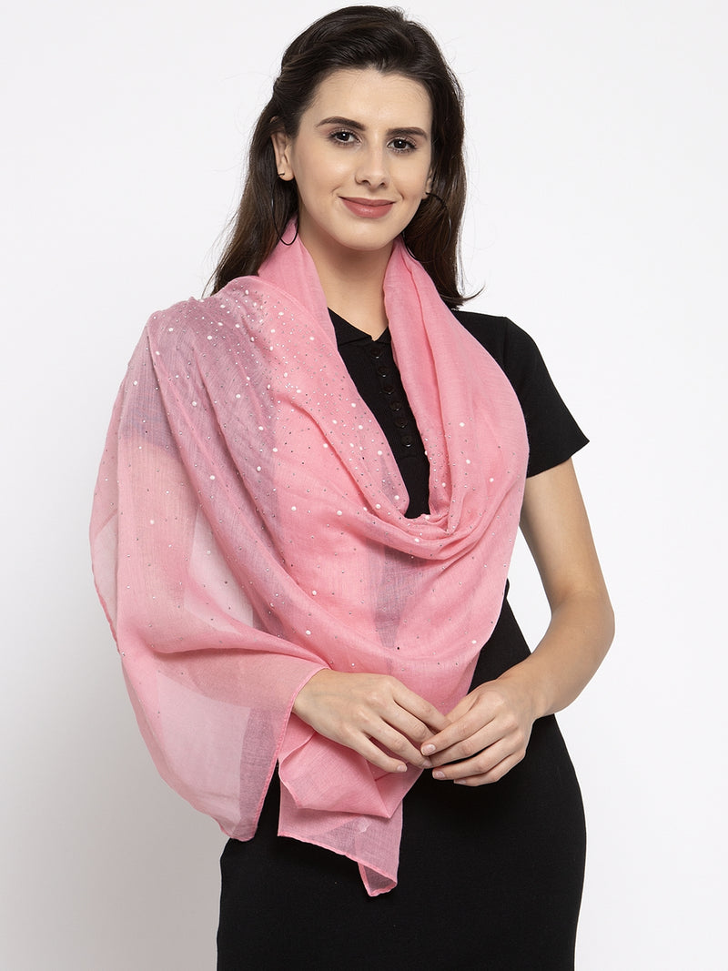 Women Pink Cotton Stole With Beads