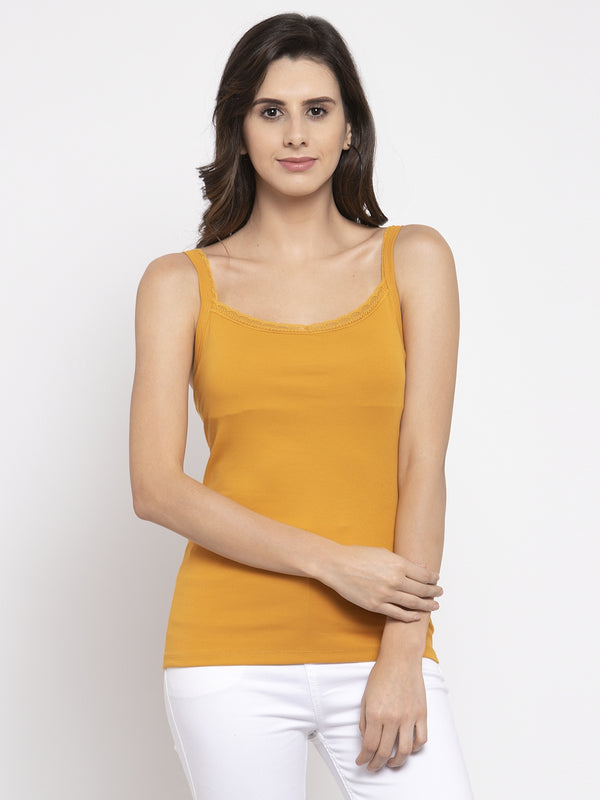 Women Solid Mustard Scoop Neck Vest