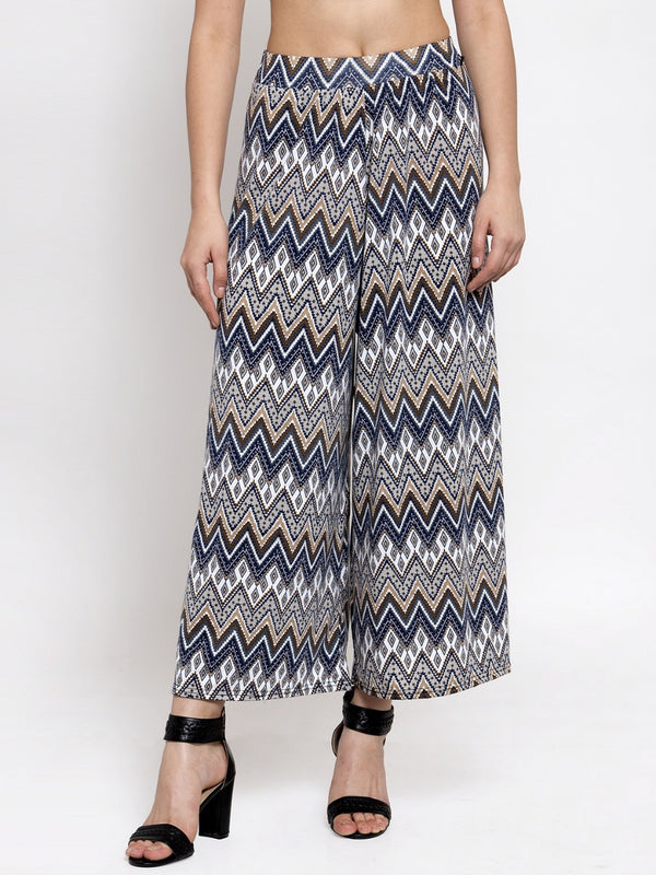 Women Printed Blue Polycotton Plazo
