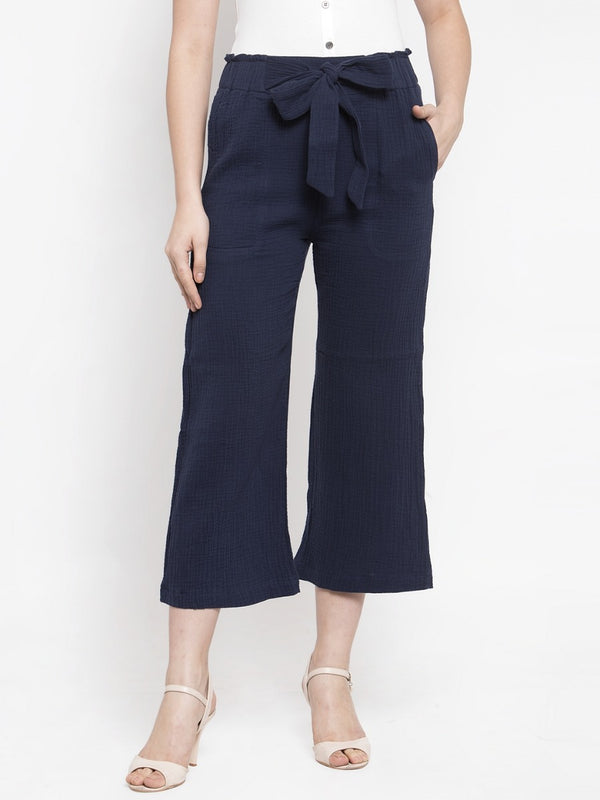 Women Solid Navy Blue Polycotton Lower