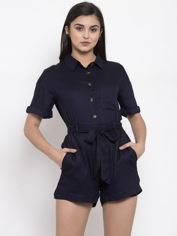 Women Navy Solid Shirt Collar Playsuit