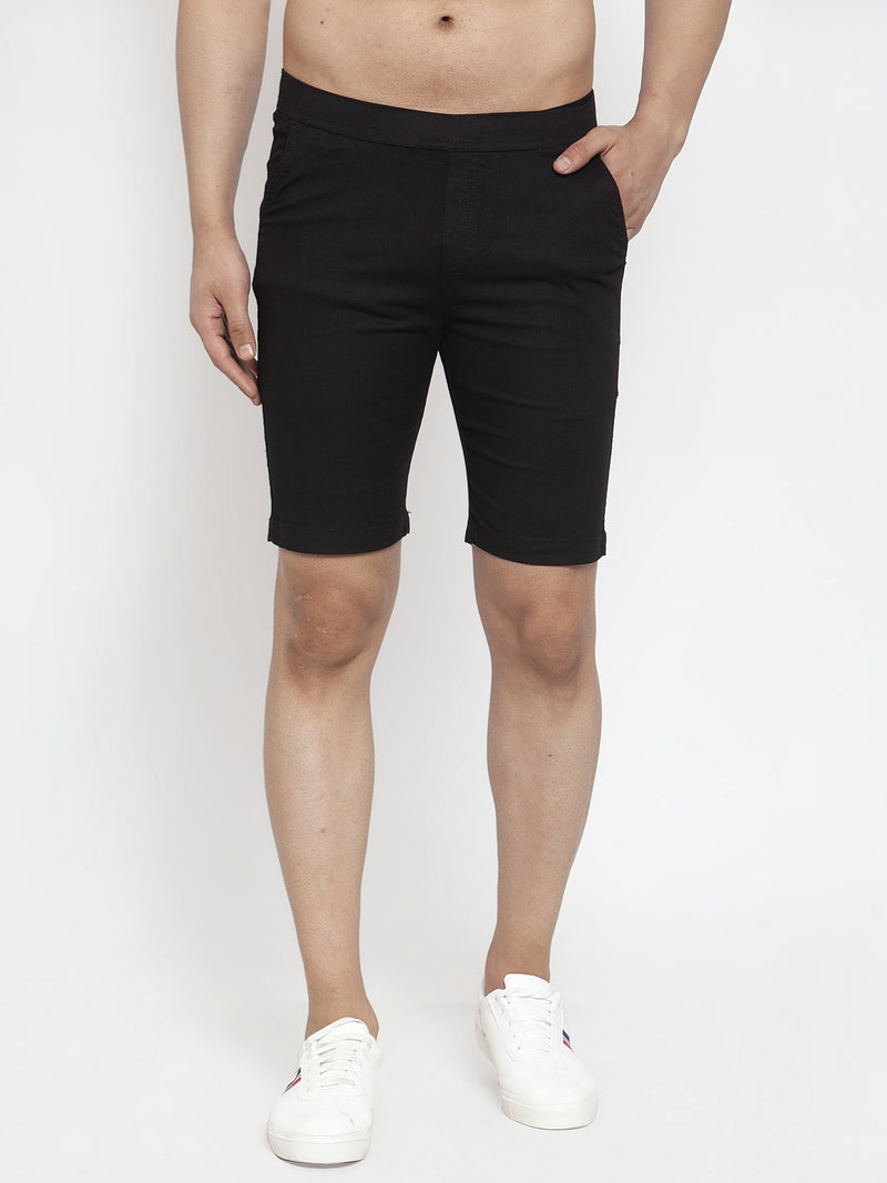 Men'S Black Cotton Linen Shorts