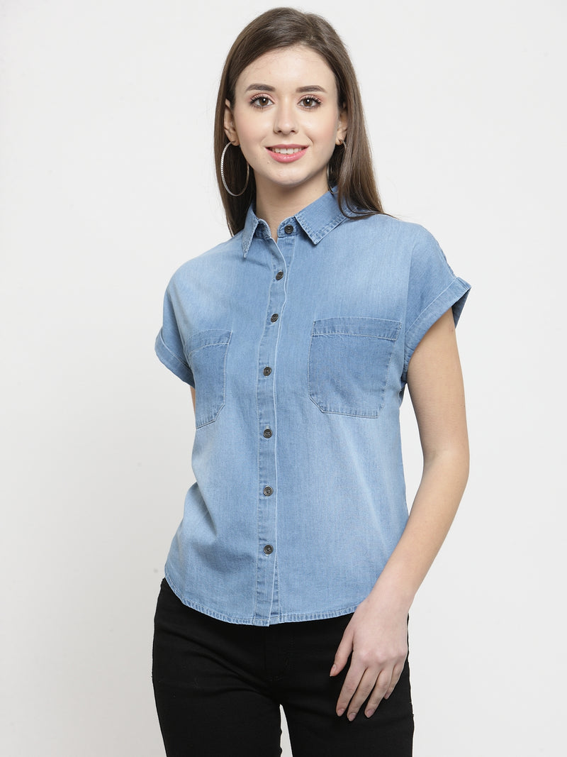 Women Denim Washed Shirt