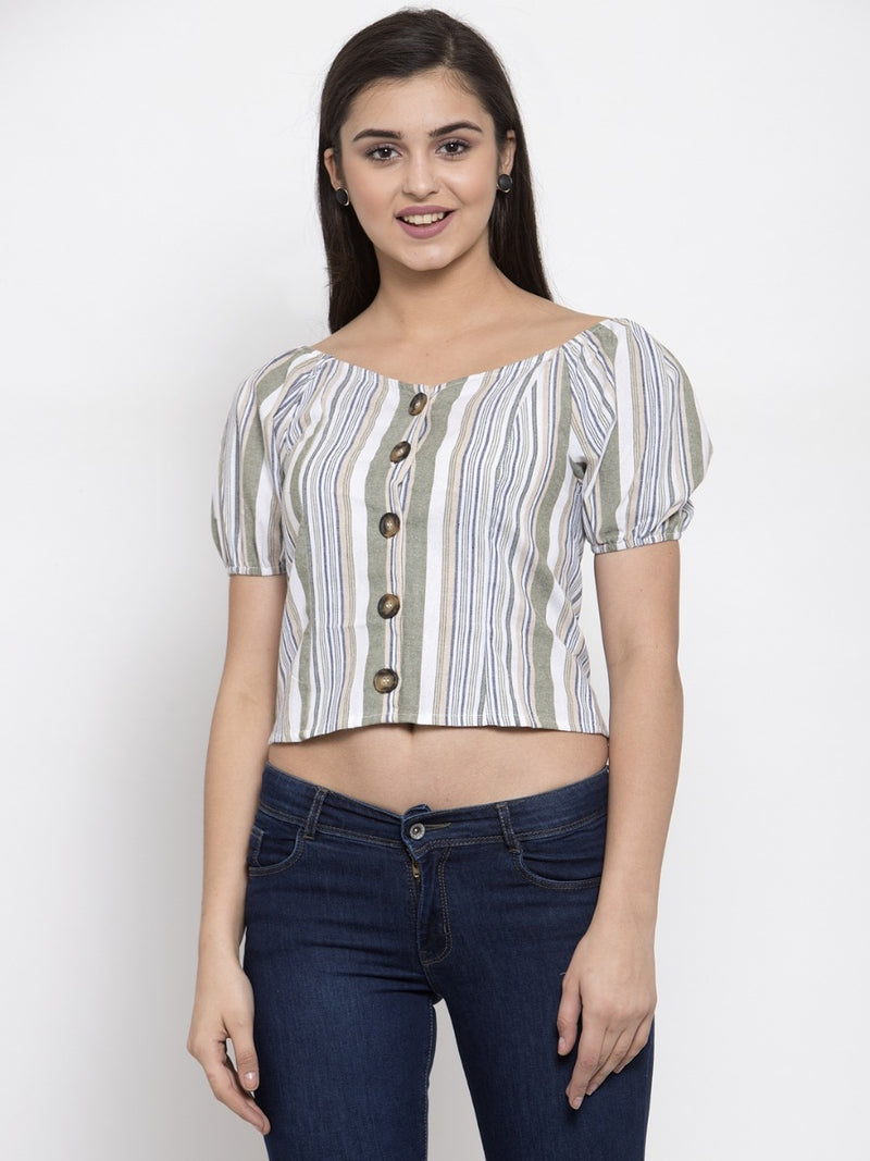 Women Striped Green Boat Neck Top With Puffed Sleeve