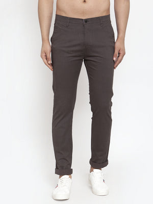 Mens Solid Grey Cotton Trouser