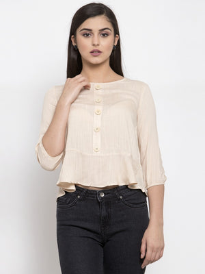 Women Solid Beige Round Neck Top