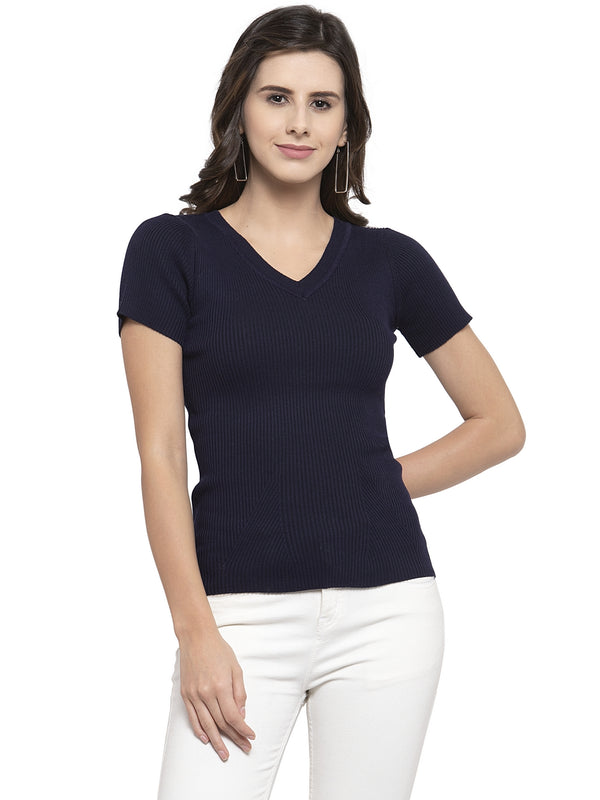 Women Solid Navy Blue and Tan Viscose Combo of 2 Tops