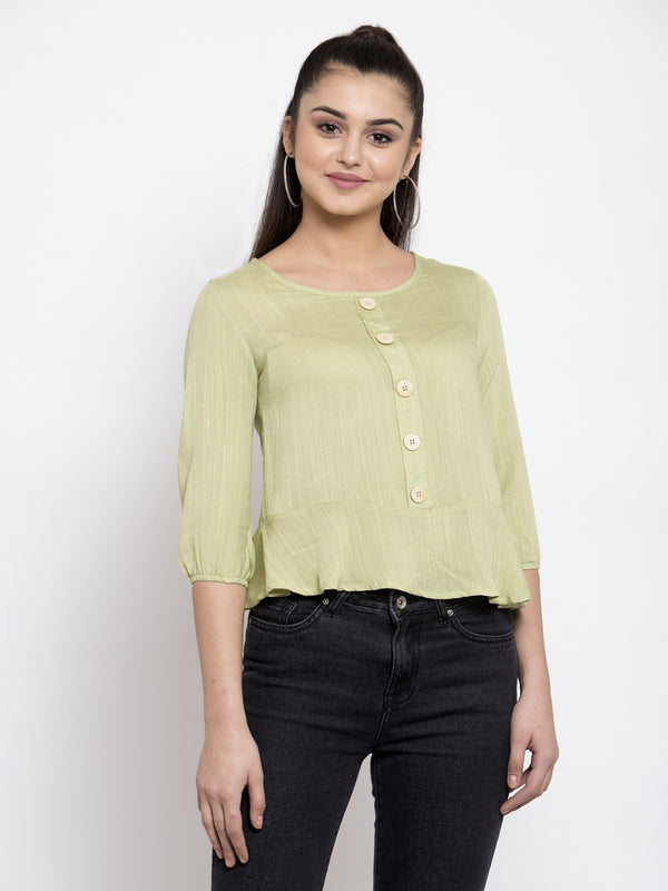 Women Green Drop-Waist Top With Quarter Sleeves