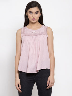 Women Solid Pink Round Neck Top