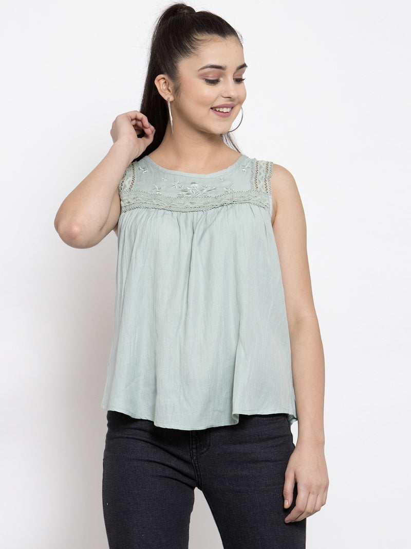 Women Solid Sea Green Round Neck Top With Crochet Lace And Embroidery