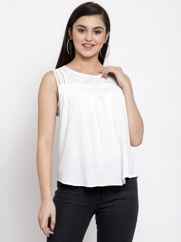 Women Solid White Round Neck Top With Crochet Lace And Embroidery